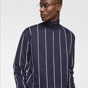 Zara Navy Vertical Stripe Sweatshirt